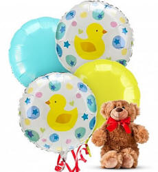 New Baby Balloons & Bear