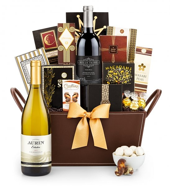 California Wine Basket 4995 Personalized Gift Ribbon Available