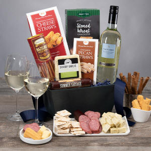 Classic White Wine Gift Basket For Thanksgiving Delivery