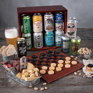 Game Night Gift Basket with Checkers and Checkerboard