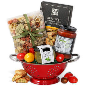 Italian themed gift basket with keepsake colander 79.99 Ships To Bomoseen