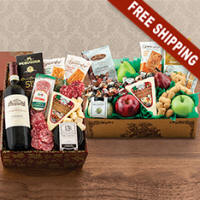 Italian Wine, Fruit, Cheese & Gourmet Double Decker Gift Basket