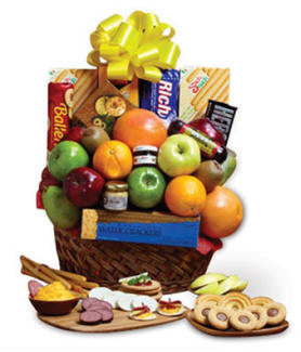 Orchard Fresh Fruit and Gourmet Golden Gift Basket
