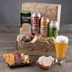 Beer and gourmet saugage food snack gift basket