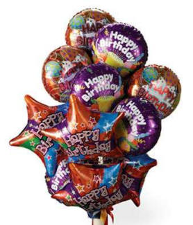One dozen mylar birthday balloons delivered to home in USA
