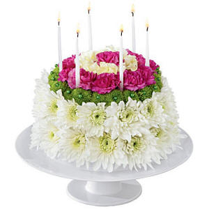 Unique birthday flower cake pink and white
