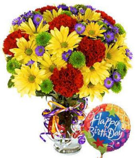 Happy birthday flowers with balloon same day delivery