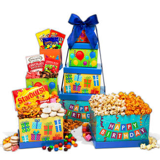 Happy Birthday Gift Tower With Candy Popcorn And Chocolate Treats 3999 Next Day Delivery