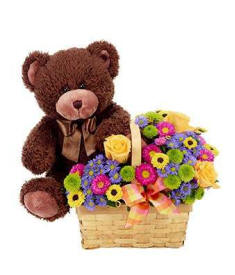 Birthday Teddy Bear and Flowers In A Gift Basket