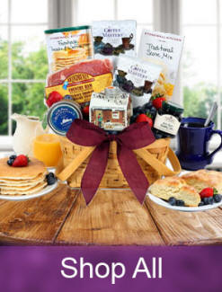 Unique breakfast gift baskets - Pancakes, jams and jellies to make mornings extra special