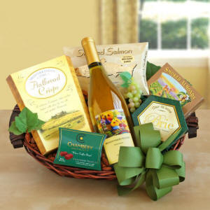 California White Wine Cheese And Gourmet Gift Basket $47.49