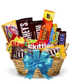 Candy Basket Blue Bow $34.99