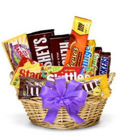 Candy Gift Basket Purple Bow