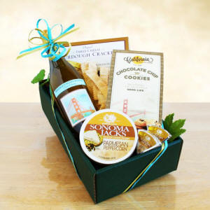 Chardonnay Classic Wine and Cheese Gift Basket