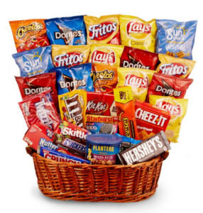 Gift Basket full of chips, candy, chocolate and more.