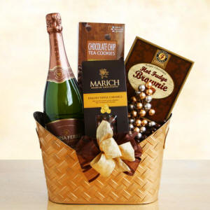 Chocolate and Sparkling Wine Gift Basket
