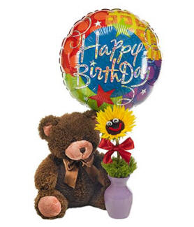 Birthday teddy bear with balloon and flower