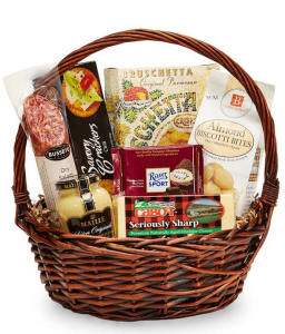 gourmet gift basket filled with sausage, cheese, nuts, crackers and more.