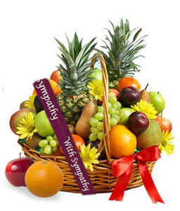 Deluxe Sympathy Gift Basket With Fruit
