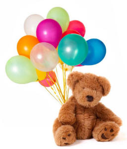 Teddy Bear With A Dozen Balloons