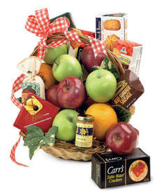 West Virginia Gourmet Gift Basket Filled With Apples, Cheese, Chocolate, Nuts, Sausage