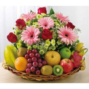 Fruit & Flowers Gift Basket $75.99 Last Minute Gift Delivery