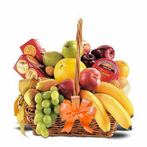 Fruit & Cheese Gift Basket With An Orange Bow