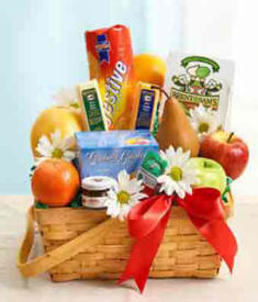 Gift Basket Fillied With Flowes, Fruit, Snacks