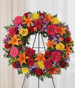 Funeral Wreath With Bright Colors