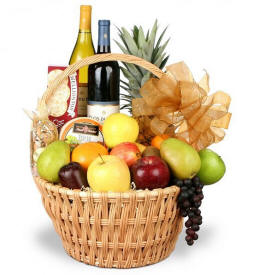 Grand Celebrations Fruit & Wine Basket
