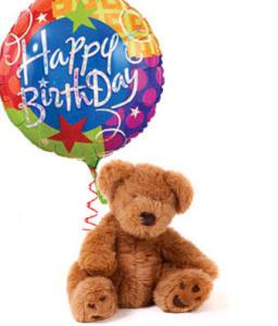 Happy Birthday Bear With Mylar Balloon