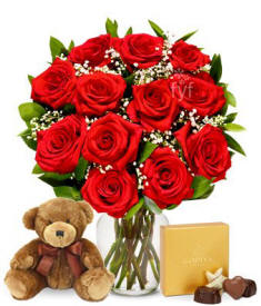 One Dozen Roses With Teddy Bear $44.99
