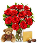 Valentines Day Cheep Roses Teddy Bear Chocolate