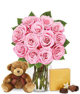 Teddy bear, pink roses with chocolate for mothers day