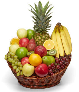 Fruit Basket Filled With A Variety Of Fresh Fruit In Season 89.99