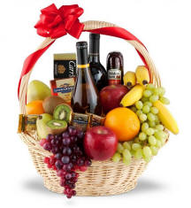 Premium 2 Bottles Wine Fruit Gourmet Gift Basket