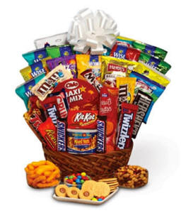 Gift Basket Filled With Candy Bars Snacks Cookies and Junk Food