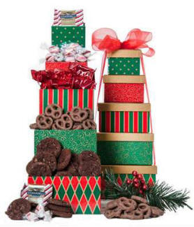 A gift tower full of chocolate and treats