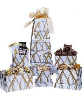 White & Gold Shimmer Gift Snack Tower