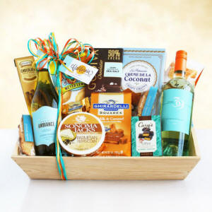 White Wine Gourmet Favorites Gift Basket $99.99