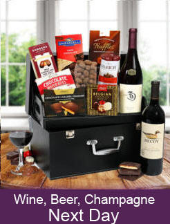 Wne, beer and champage gift baskets - Same day and next day delivery in Kerman